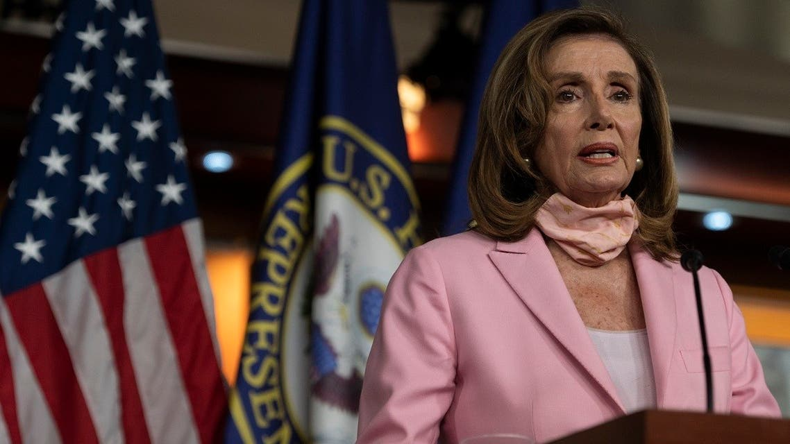 US Speaker of the House, Nancy Pelosi, Democrat of California, speaks during a press conference before the vote on the 'Delivering for America Act' to protect the postal system on Capitol Hill in Washington, DC, on August 22, 2020. (AFP)