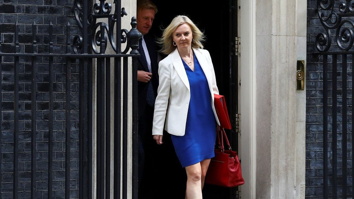 Britain's Secretary of State of International Trade and Minister for Women and Equalities Liz Truss leaves Downing Street, in London, Britain, on July 14, 2020. (Reuters)
