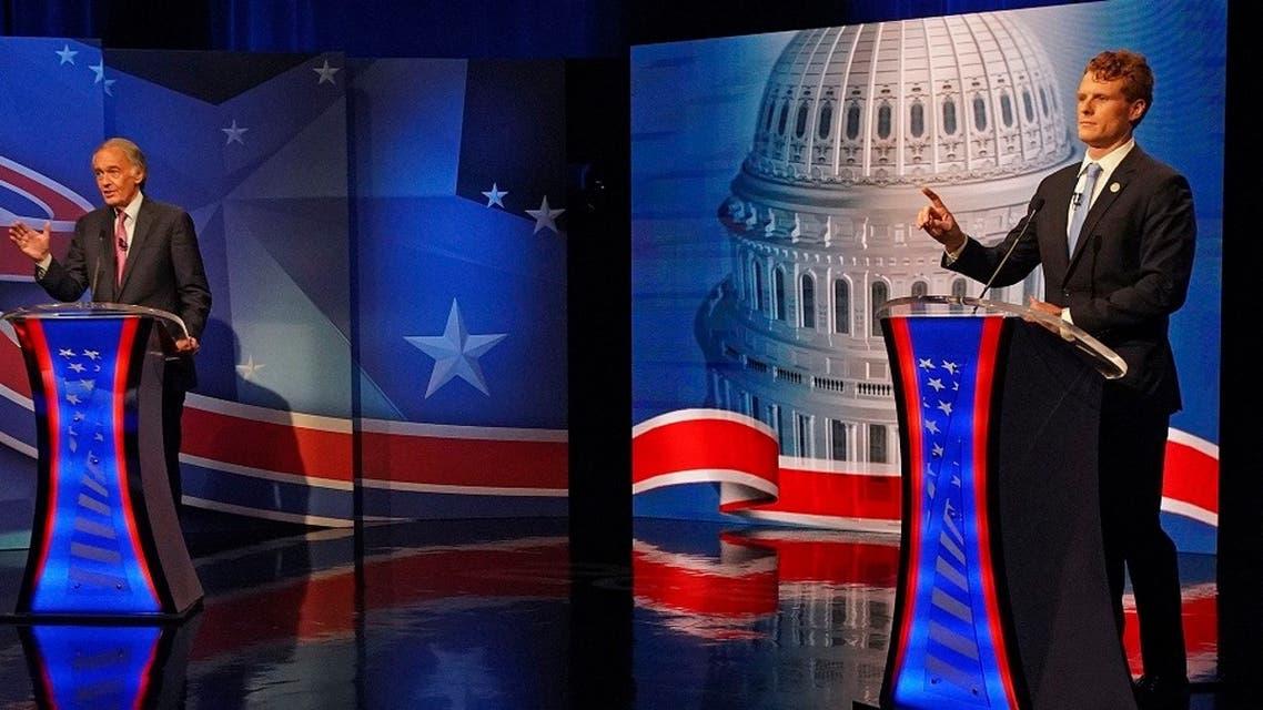 Incumbent Senator Edward Markey debates challenger Representative Joseph P. Kennedy III in the final debate leading up to the September 1 primary election in Massachusetts, Aug. 18, 2020. (AP)