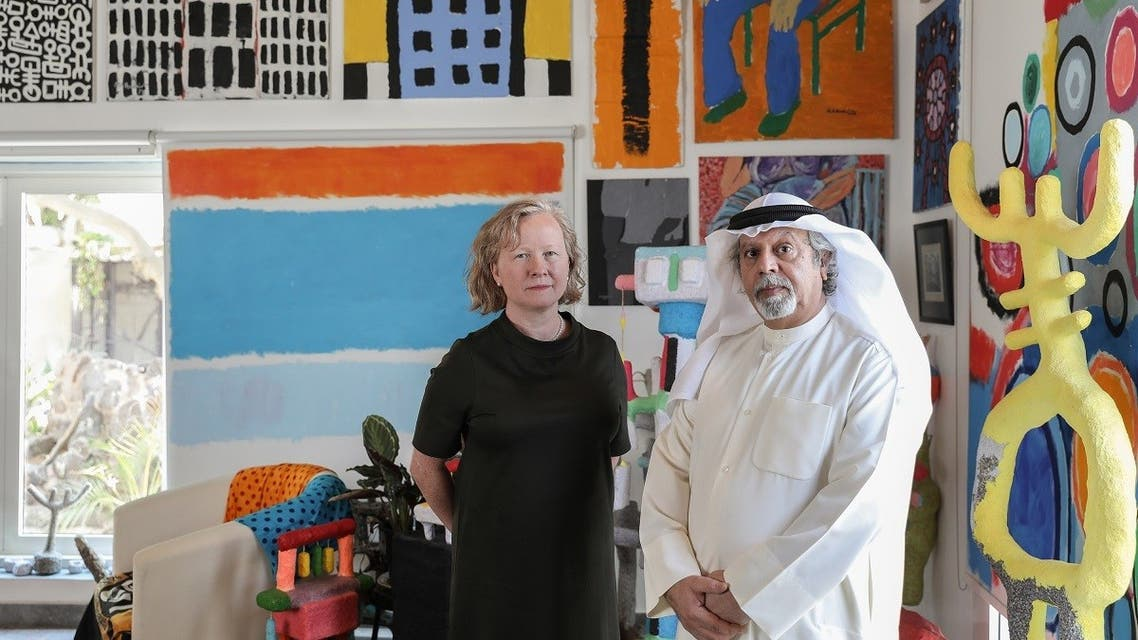 Emirati artist Mohamed Ahmed Ibrahim with curator Maya Allison, Executive Director and Chief Curator of The NYUAD Art Gallery. (Salama bint Hamdan Al Nahyan Foundation)