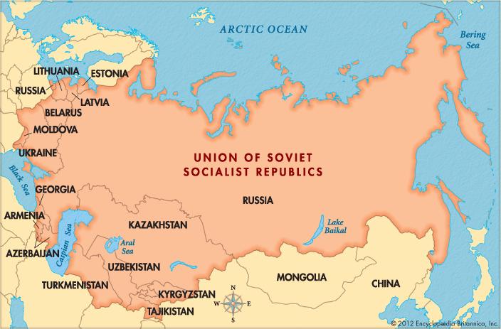 خريطة تبرز الاتحاد السوفيتي وجمهورياته