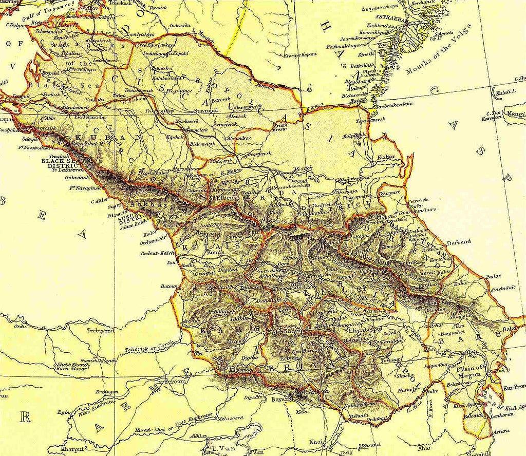 خريطة للمناطق التي شكلت الدولة القوقازية عام 1918