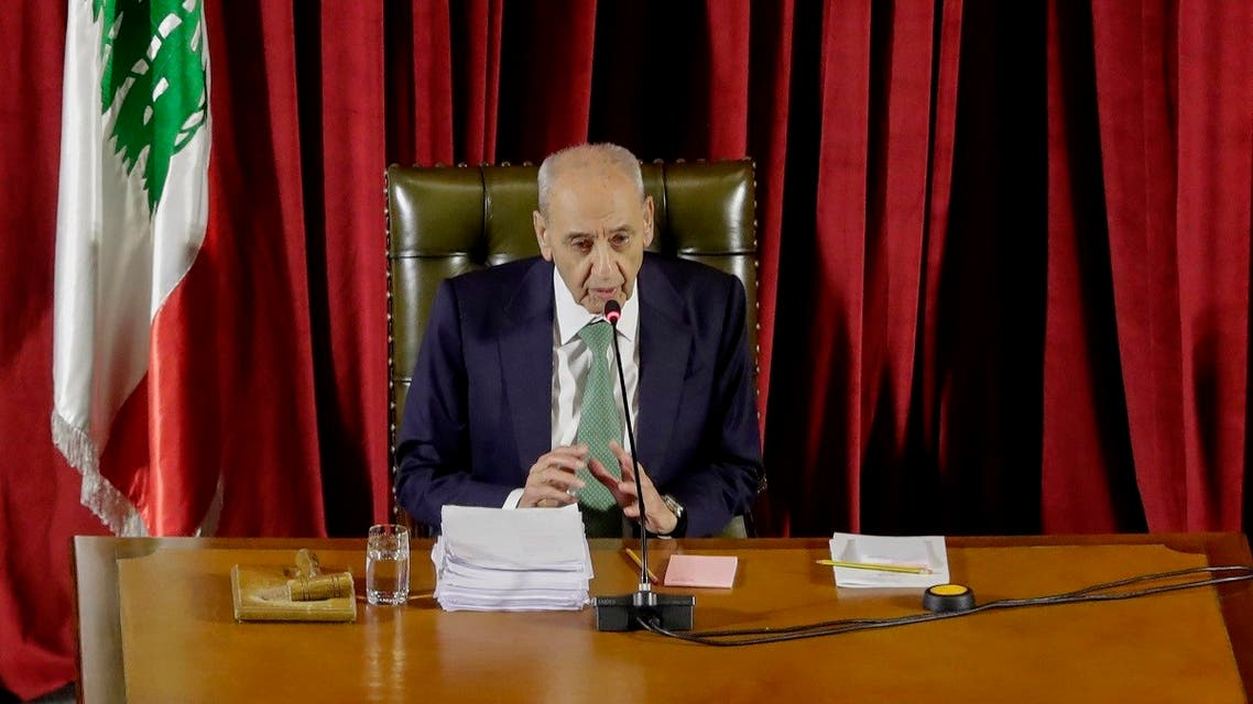 Lebanese Parliament Speaker Nabih Berri chairs a parliament meeting at the Unesco Palace in the capital Beirut, on April 21, 2020. (AFP)
