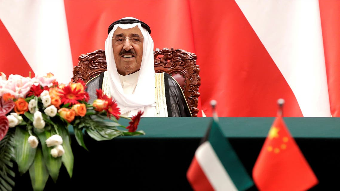 Kuwait's Emir Sheikh Sabah Al-Ahmad Al- Jaber Al-Sabah looks as he witnesses a signing ceremony with Chinese President Xi Jinping at the Great Hall of the People in Beijing. (Reuters)