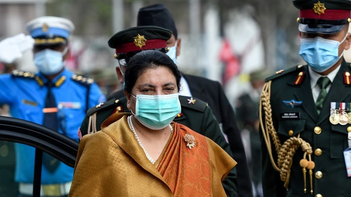 Nepal's President Bidhya Devi Bhandari (C) arrives at the parliament to present the new government's programme for the fiscal year 2020/2021 in Kathmandu on May 15, 2020. (AFP)