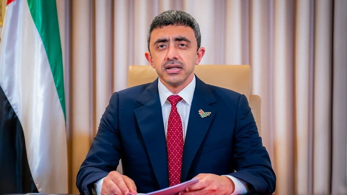 Minister of Foreign Affairs and International Cooperation, Sheikh Abdullah bin Zayed Al Nahyan during his address to the UN General Assembly virtual meetings in New York, on September 29, 2020. (Twitter/@MoFAICUAE)
