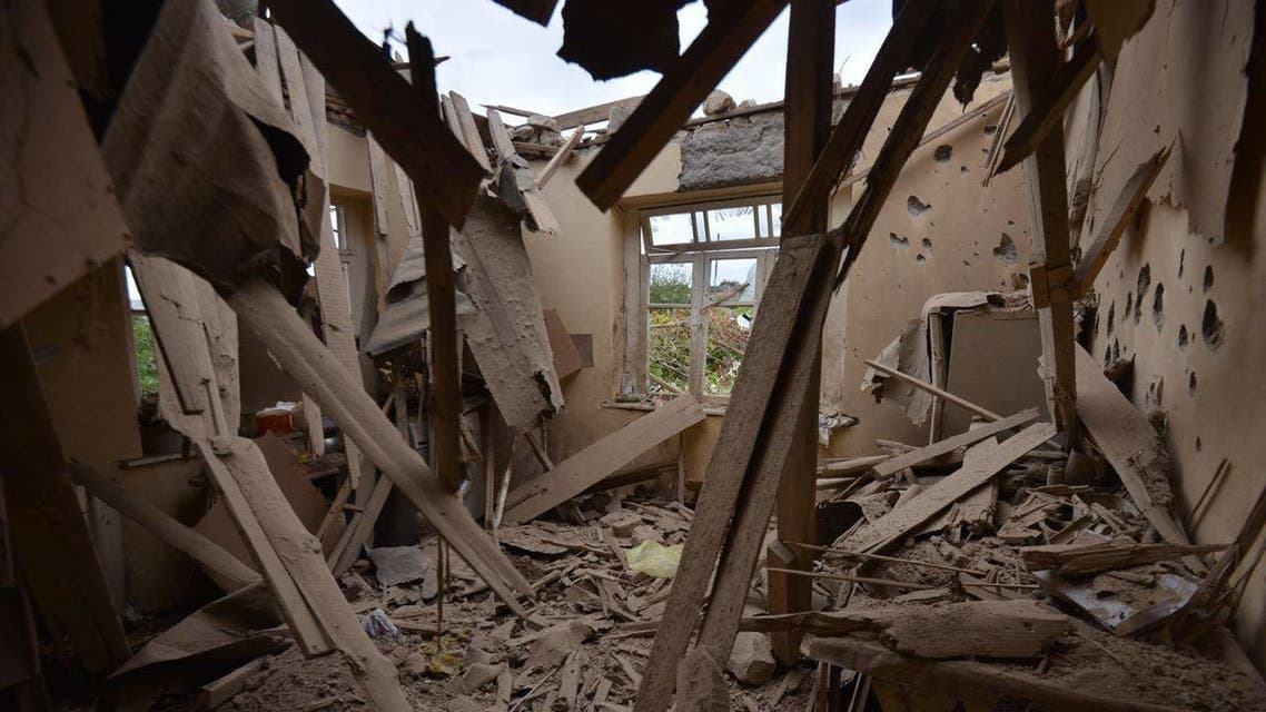 A view of a house which is said was damaged in recent shelling during clashes between Armenian separatists and Azerbaijan over the breakaway Nagorny Karabakh region. (AFP)
