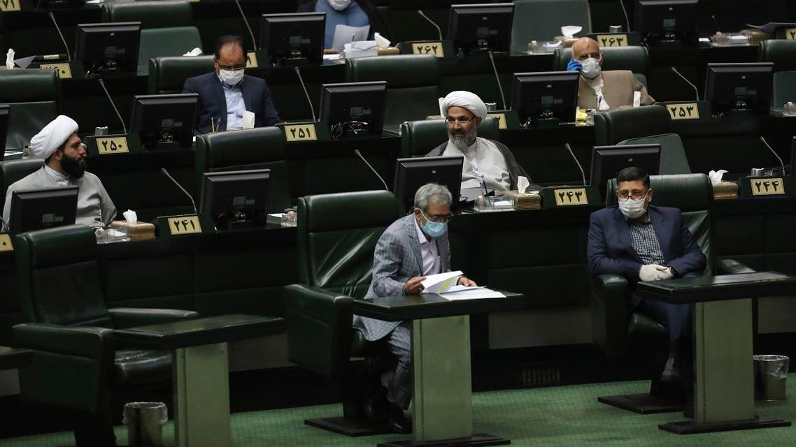 Lawmakers attend a session of the parliament in Tehran, Iran, Thursday, May 28, 2020. (AP)