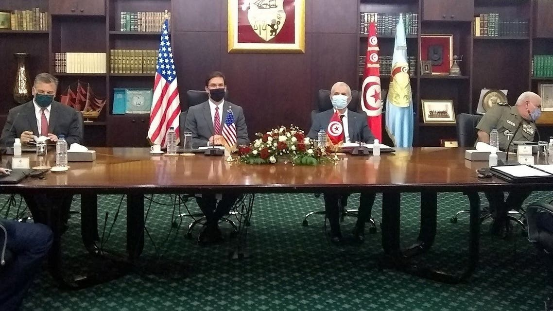 US Secretary of Defense Mark Esper (2-L) meets with his Tunisian counterpart Ibrahim Bartagi (2-R) in the capital Tunis, on September 30, 2020. (AFP)