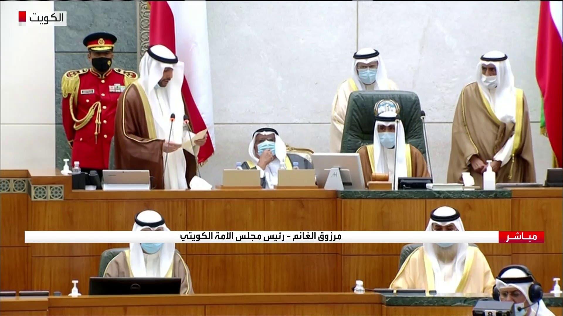 رئيس مجلس الأمة الكويتي يلقي كلمته أمام أمير البلاد