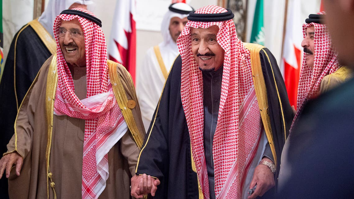 Saudi Arabia's King Salman bin Abdulaziz Al Saud walks Kuwaiti Emir Sheikh Sabah al-Ahmad al-Jaber al-Sabah during the Gulf Cooperation Council's (GCC) 40th Summit in Riyadh. (Reuters)