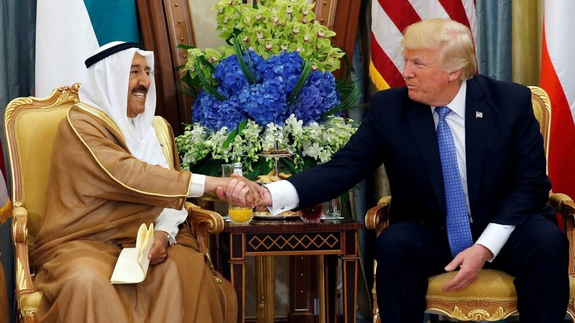 Emir of Kuwait Sheikh Sabah Al-Sabah shakes hands with US President Donald Trump during their meeting in Riyadh, Saudi Arabia, May 21, 2017. (Reuters)