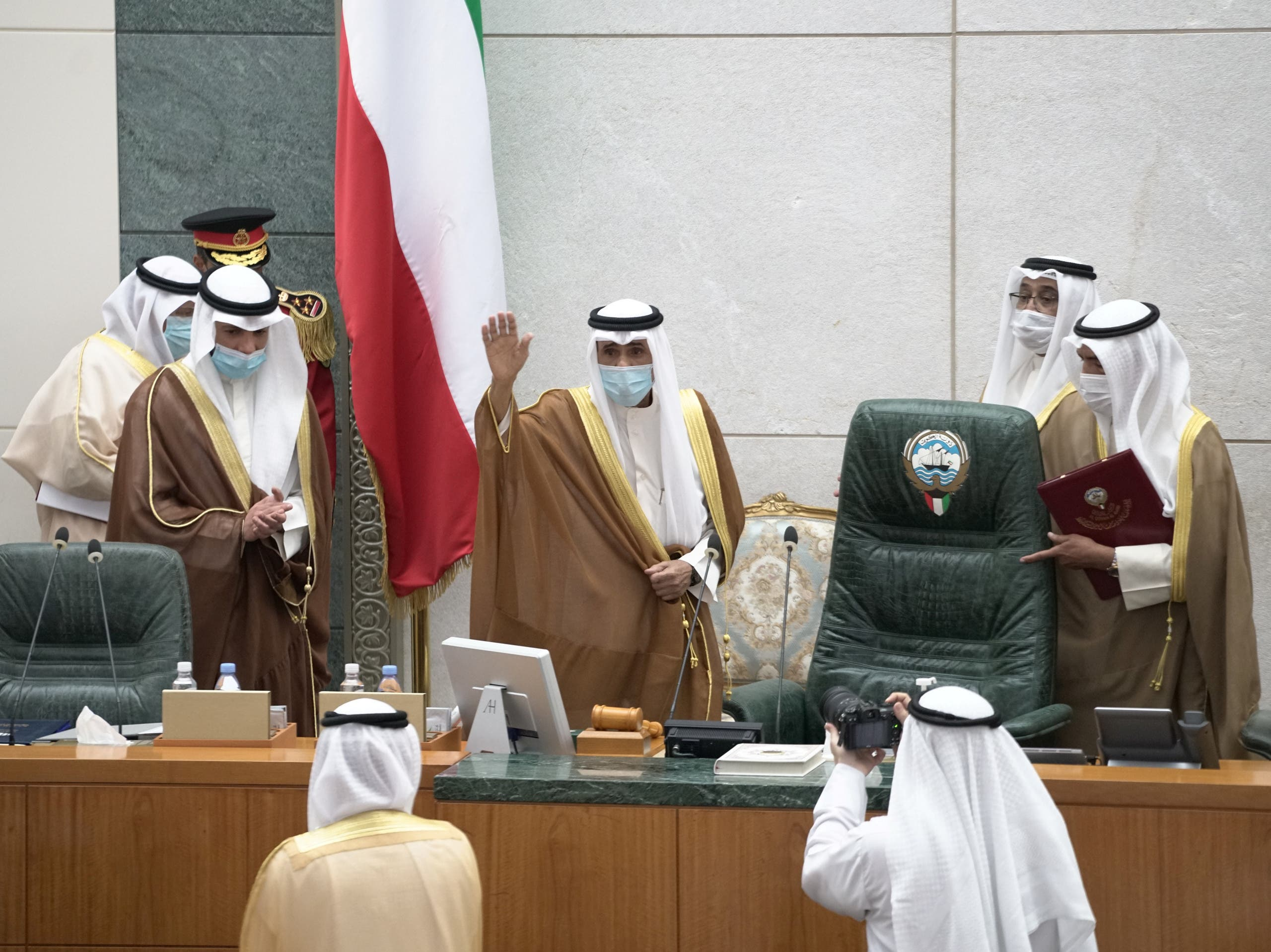 Kuwait's new Emir Nawwaf al-Ahmad al-Sabah gestures as he takes the oath of office at the parliament, in Kuwait City, Kuwait September 30, 2020. (Reuters)