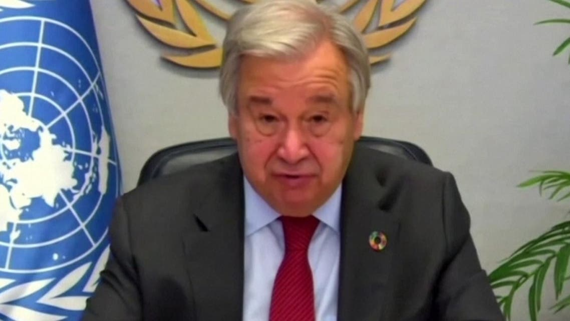 A screengrab of United Nations Secretary-General Antonio Guterres talking about COVID-19 vaccine cooperation and funding during a virtual address at the UN Headquarters in New York, September 30, 2020. (Reuters)
