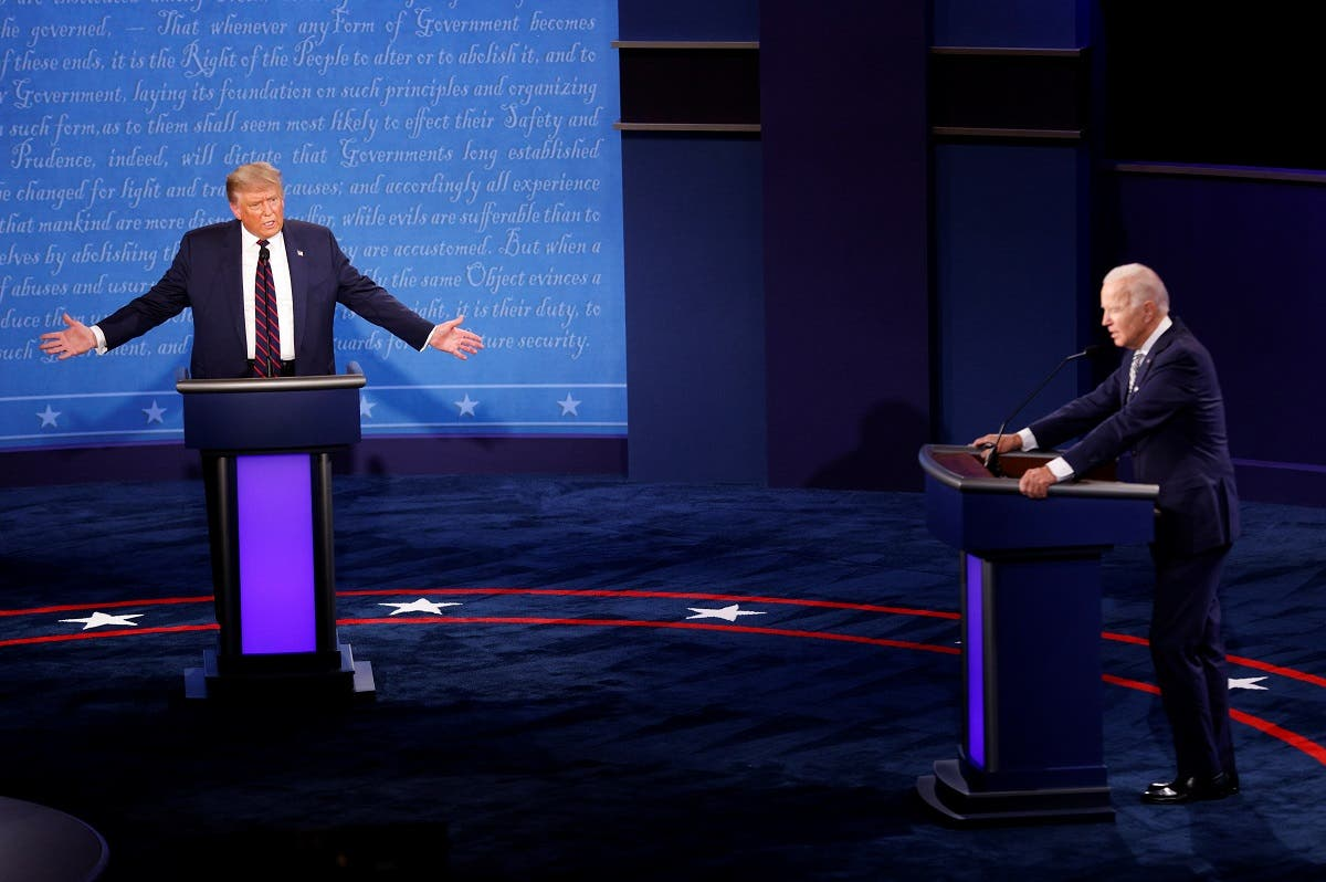 US President Donald Trump and Democratic nominee Joe Biden during the first 2020 presidential campaign debate in Cleveland, Ohio, Sept. 29, 2020. (Reuters)