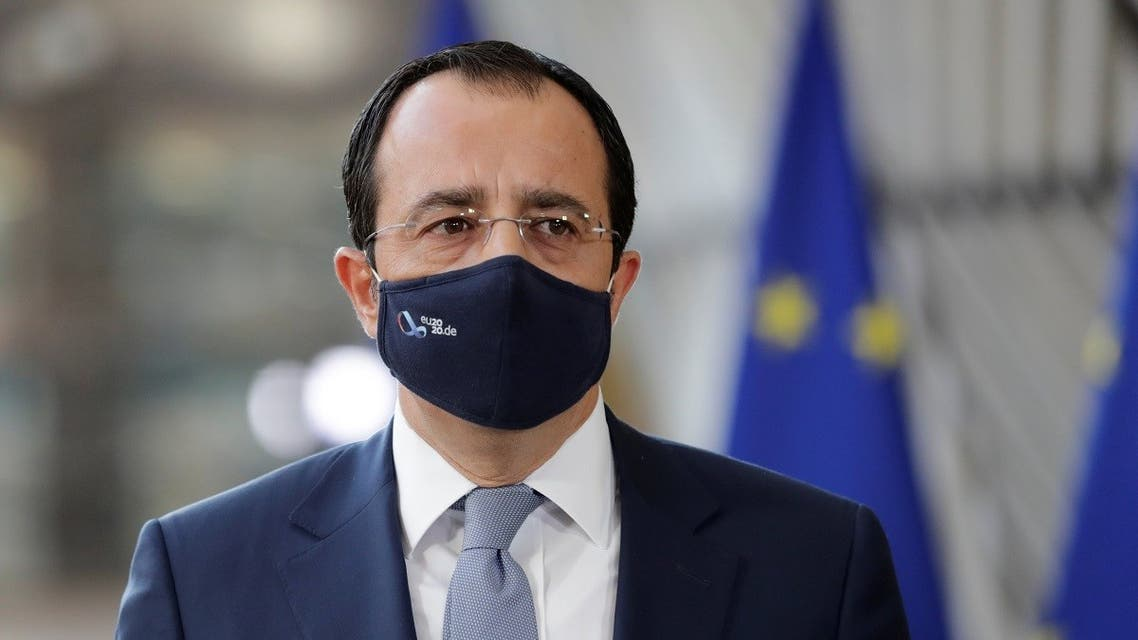 Cypriot Foreign Minister Nikos Christodoulides looks on during the foreign affairs ministers council in Brussels, Belgium September 21, 2020. (Olivier Hoslet/Pool via Reuters)