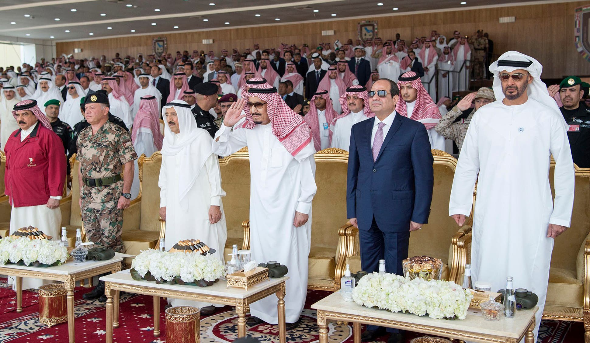 (L to R) Bahrain's King Hamad bin Isa Al Khalifa, Jordan's King Abdullah II, Kuwait's Emir Sheikh Sabah al-Ahmad al-Jaber al-Sabah, Saudi King Salman bin Abdulaziz, Egyptian President Abdelfattah al-Sisi, and Abu Dhabi Crown Prince Mohammed bin Zayed. (AFP)
