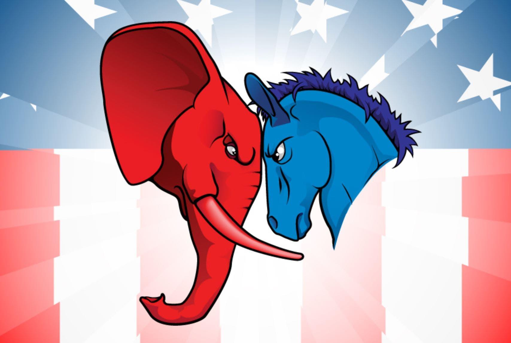 شعارا الحزب الديمقراطي إلى اليمين والجمهوري يساراً