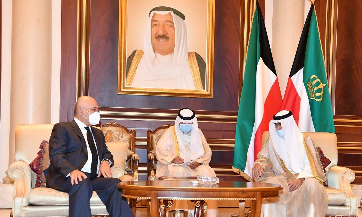 Iraq's President Barham Salih offers condolences to Kuwait's new Emir Nawaf al-Ahmad al-Sabah on the death of late Emir Sheikh Sabah al-Ahmad al-Sabah, in Kuwait. (Reuters)