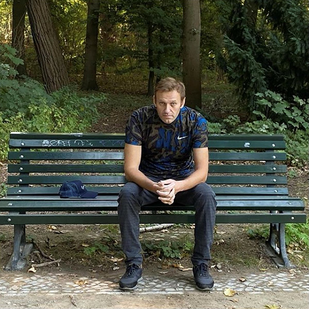 Russian opposition politician Alexei Navalny sits on a bench while posing for a picture in Berlin, Germany, in this undated image obtained from social media. (File photo: Reuters)