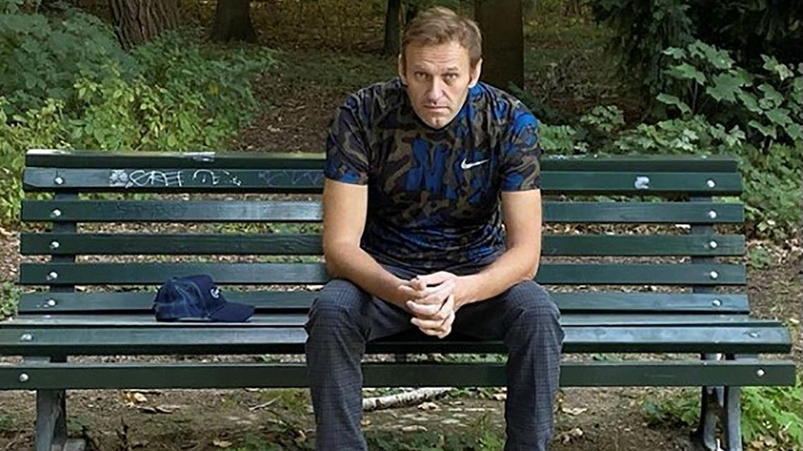 Russian opposition politician Alexei Navalny sits on a bench while posing for a picture in Berlin, Germany, in this undated image obtained from social media on September 23, 2020. (Reuters)