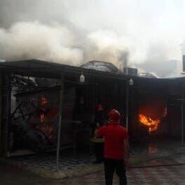 إيران.. حريق يلتهم سوقاً بالكامل على الخليج العربي