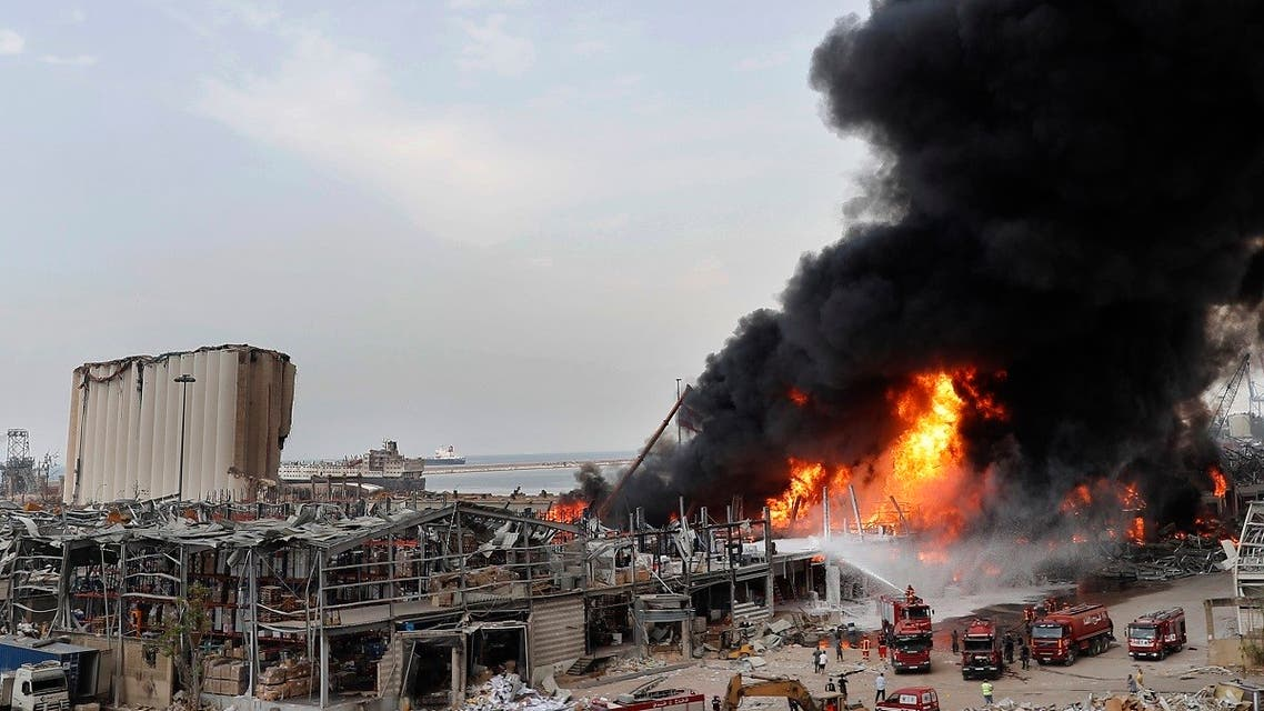 Firefighters work to extinguish a fire at warehouses at the seaport in Beirut, Sept. 10. 2020. (AP)