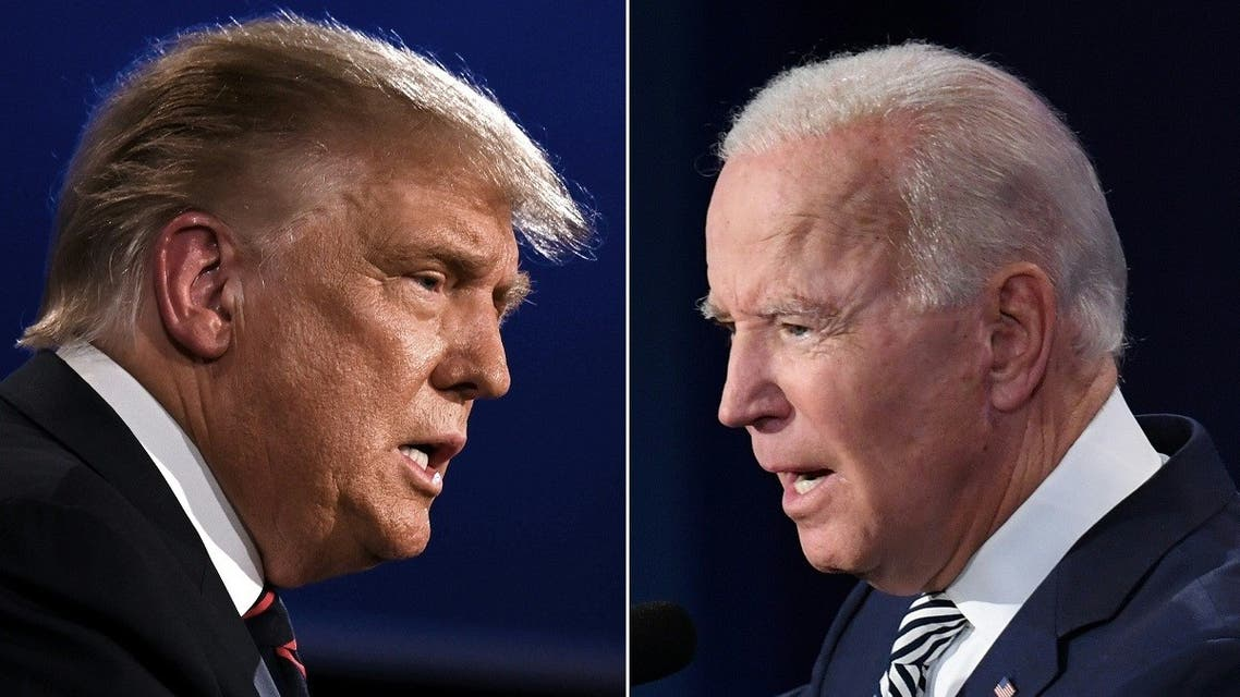 This combo picture shows President Trump (L) and Democratic Presidential candidate former VP Biden squaring off during the first presidential debate in Cleveland, Ohio on September 29, 2020. (AFP)