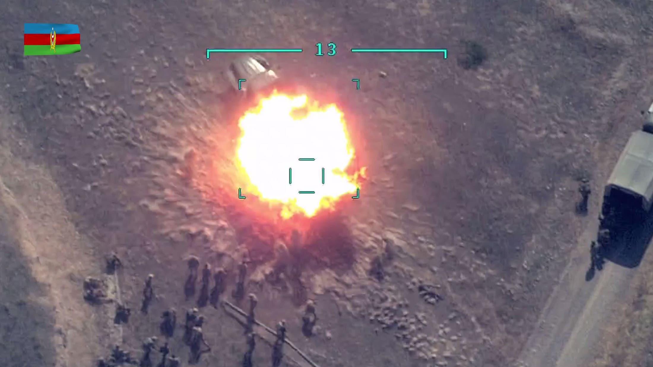 وزارة دفاع أذربيجان تنشر صورة استهداف قوات أرمنية في ناغورني كاراباخ (فرانس برس)