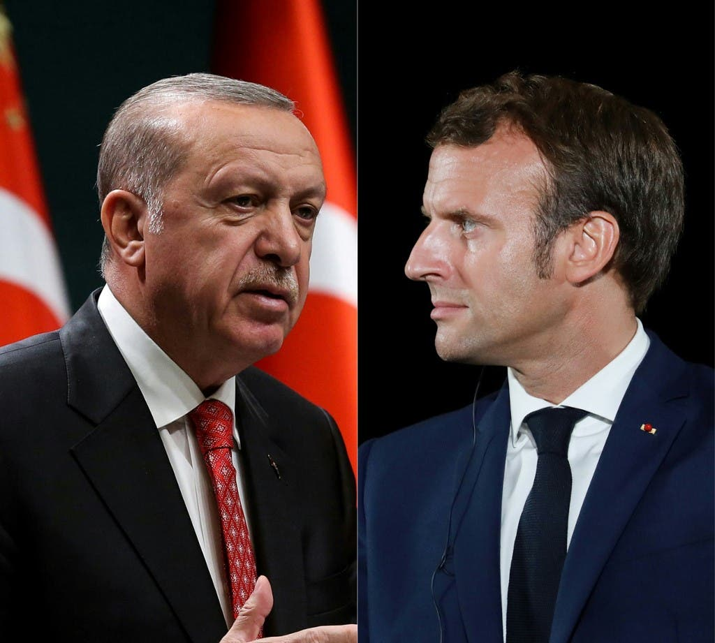 This combination of files pictures created on September 12, 2020 shows Turkish President Recep Tayyip Erdogan and French President Emmanuel Macron. (AFP)
