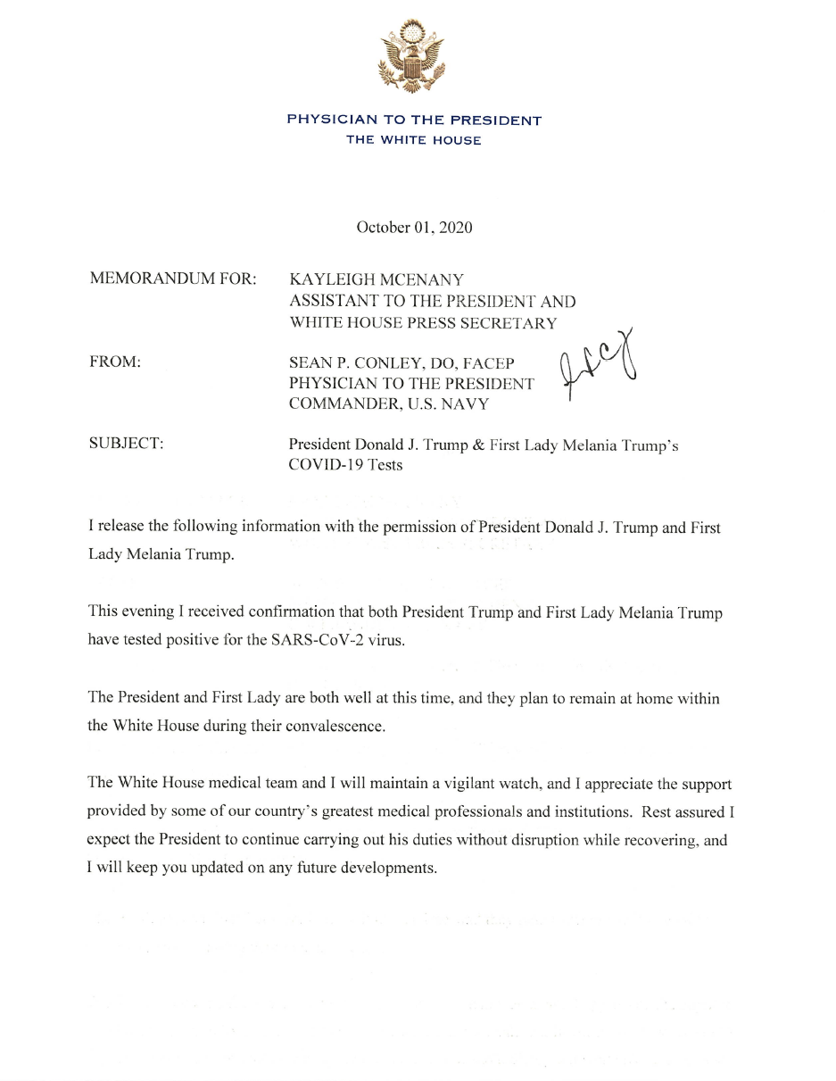 Memorandum from the President's Physician. (Supplied)