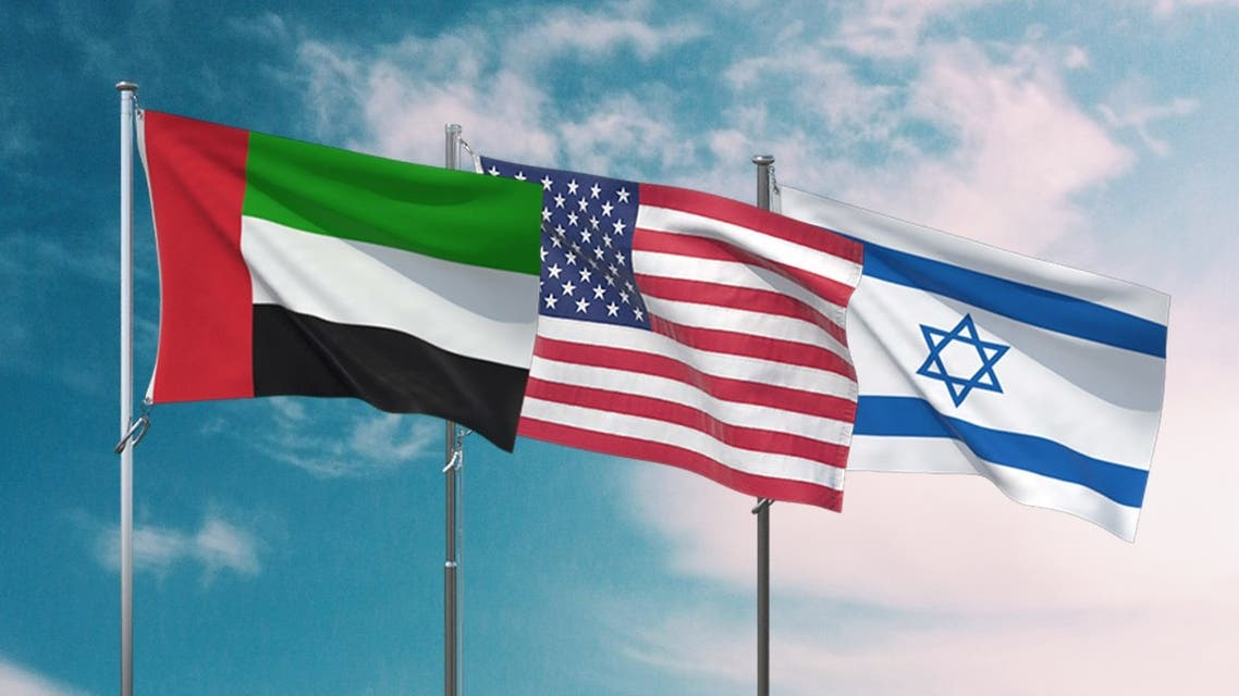 An illustration of the flags of the United Arab Emirates, the United States and Israel. (WAM)