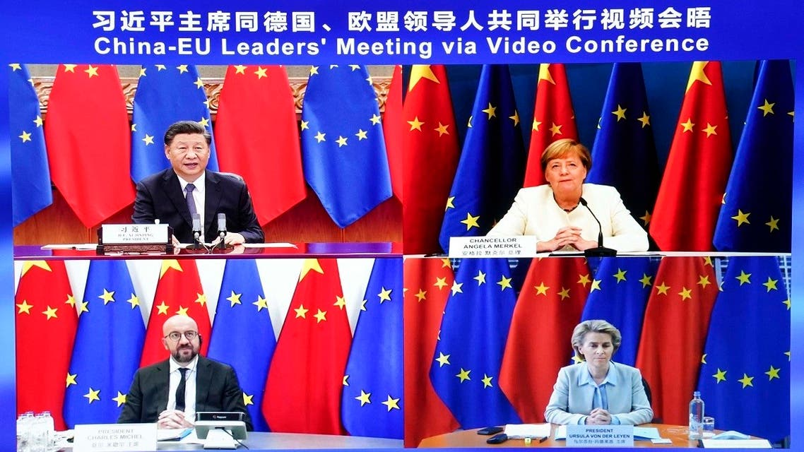 Chinese President Xi Jinping, speaks during a China-EU leaders' video meeting with German Chancellor Angela Merkel, European Council President Charles Michel, and European Commission President Ursula von der Leyen, in Beijing, on September 14, 2020. (AP)