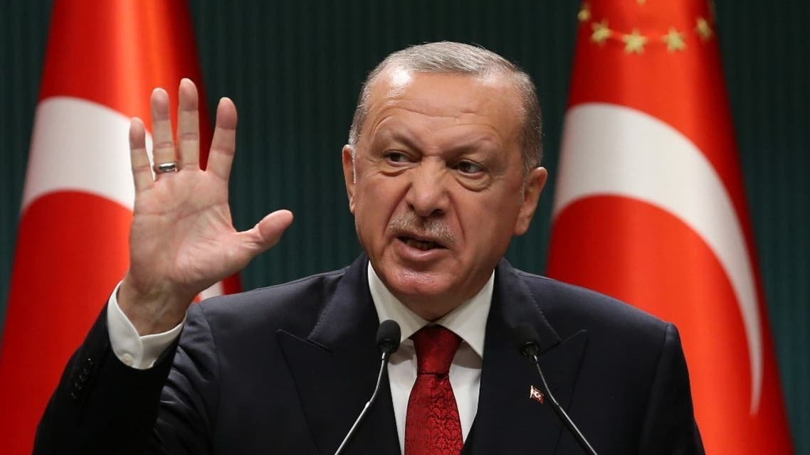 President of Turkey, Recep Tayyip Erdogan gestures as he gives a press conference after the cabinet meeting at the Presidential Complex in Ankara, Turkey, on September 21, 2020. (AFP)