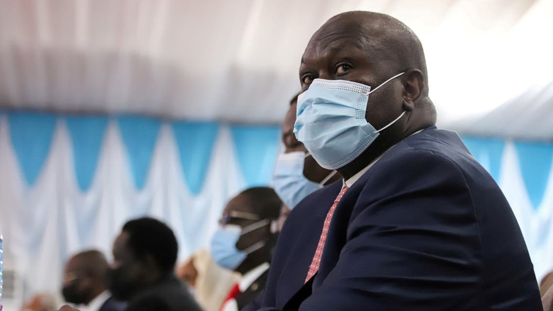 South Sudan's Vice President Riek Machar attends the signing of a peace agreement between Sudan's power-sharing government and five key rebel groups, a significant step towards resolving deep-rooted conflicts that raged under former leader Omar al-Bashir, in Juba, South Sudan August 31, 2020. (Reuters)