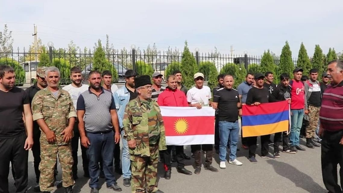 Yazidi reservists who have formed a military unit to go and fight in Nagorno-Karabakh. (Supplied, Temur Titale)