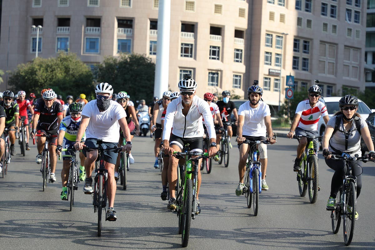 Lance Armstrong races to raise funds following Beirut blast. (Photo courtesy: Fares Sokhn)