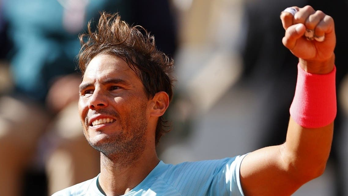 Spain's Rafael Nadal celebrates after winning against Sebastian Korda of the US during their men's singles fourth round tennis match on Day 8 of The Roland Garros 2020 French Open tennis tournament in Paris on October 4, 2020. (Thomas Samson/AFP)