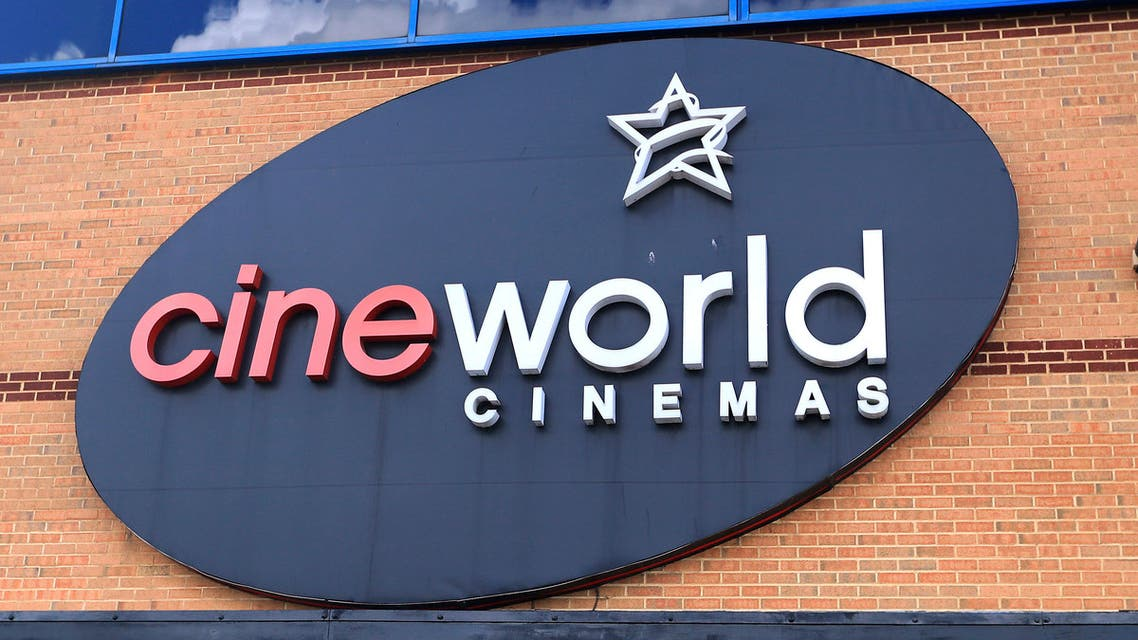 This June 18, 2020 file photo shows the logo of a Cineworld cinema in Northampton, England. U.K. media say cinema chain Cineworld will close all its U.K. venues after the postponement of the new James Bond film left a big hole in theaters' schedules. (AP)