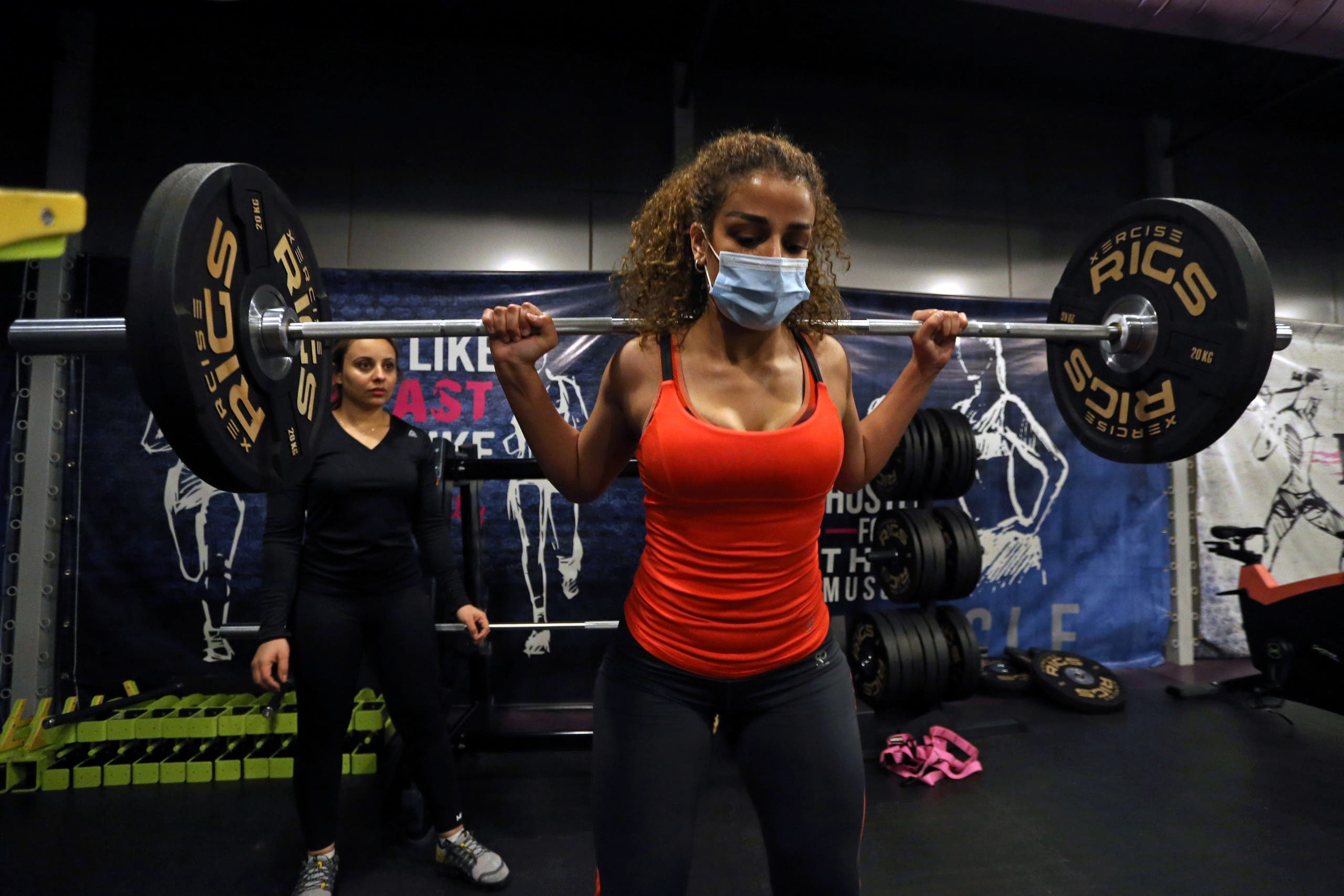 A Saudi woman Balqees, works out at a gym, amid the spread of the coronavirus disease (COVID-19), in Riyadh, Saudi Arabia. (Reuters)