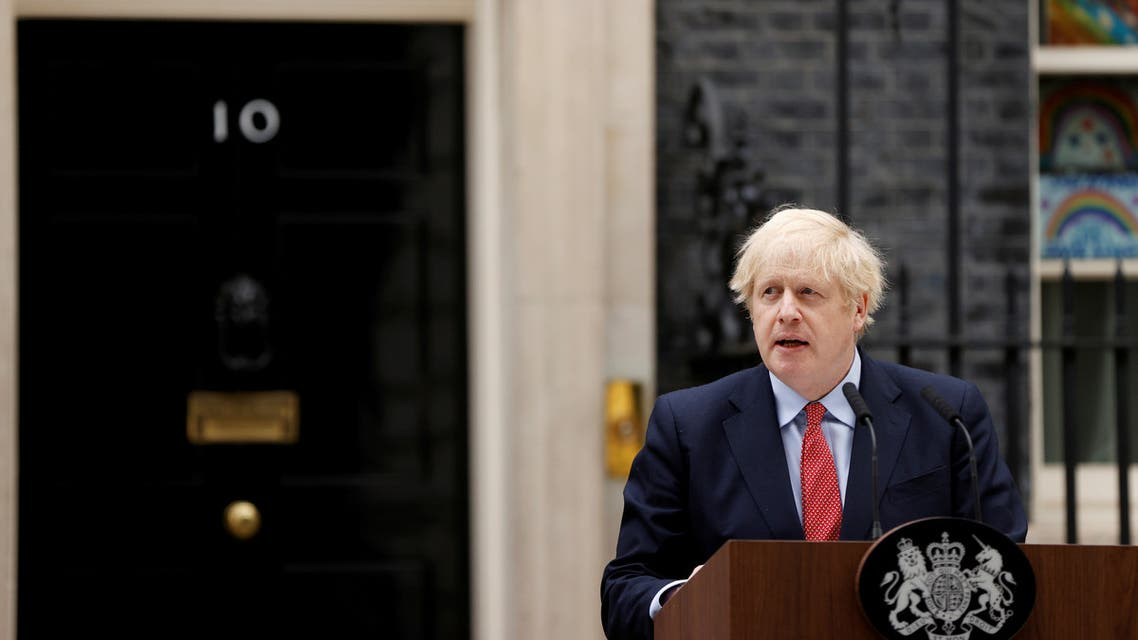 Britain's Prime Minister Boris Johnson speaks outside 10 Downing Street after recovering from the coronavirus disease (COVID-19), London. (Reuters)
