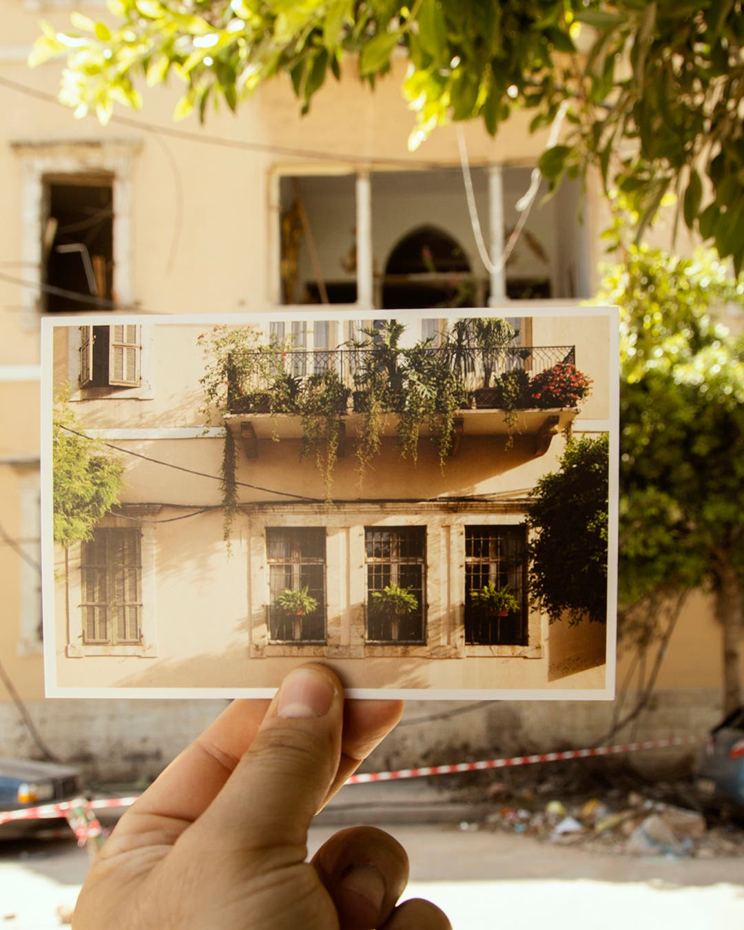 "The ""Bouyout Beirut"" (Houses of Beirut) postcard series juxtaposes buildings that were damaged in the Beirut port explosion on Aug. 4 with an image taken before the blast that rocked the Lebanese capital. (Supplied)"