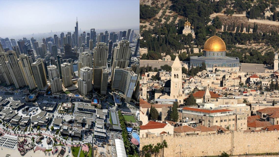 Skyline of Dubai, left, and Jerusalem, right. (AFP)