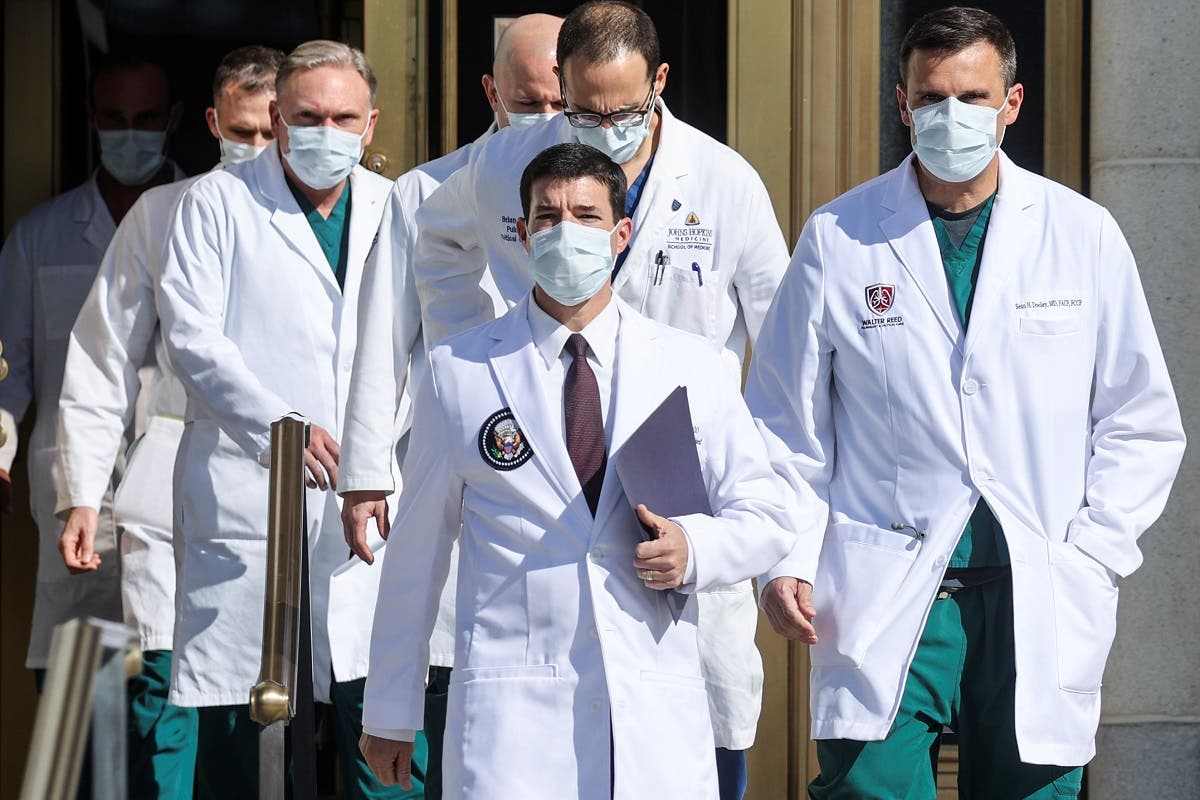 White House physician Dr. Sean Conley as he arrives to speak to reporters at the Walter Reed National Military Medical Center, Oct. 5, 2020. (Reuters)