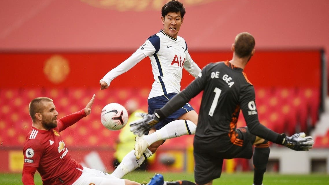 Tottenham Hotspur's Son Heung-min scores their second goal against Manchester United at Old Trafford, Manchester, Britain, October 4, 2020. (Reuters)