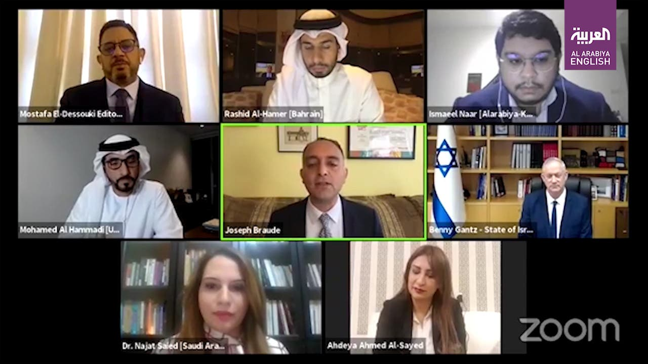 Israel Defence Minister Benny Gantz speaks with journalists from the UAE, Bahraina and Saudi Arabia.