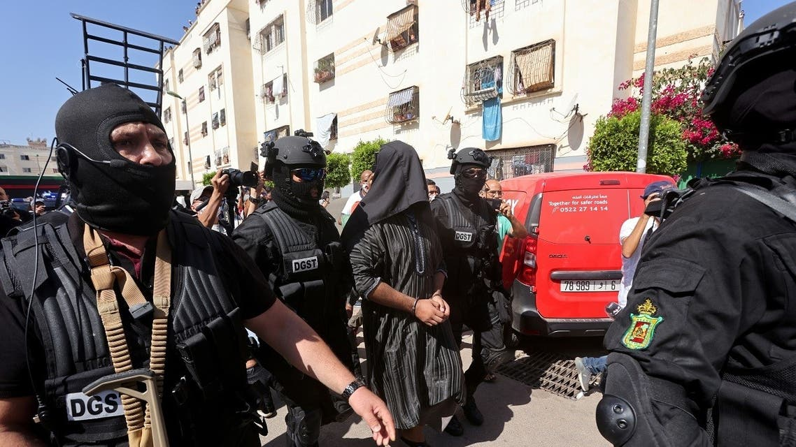 Moroccan special forces detain a man after a counter-terrorism operation in Temara, on the outskirts of Rabat, Morocco September 10, 2020. (Reuters)