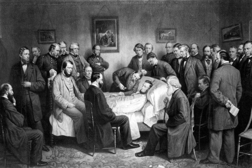 صورة لابراهام لنكولن وهو على فراش الموت