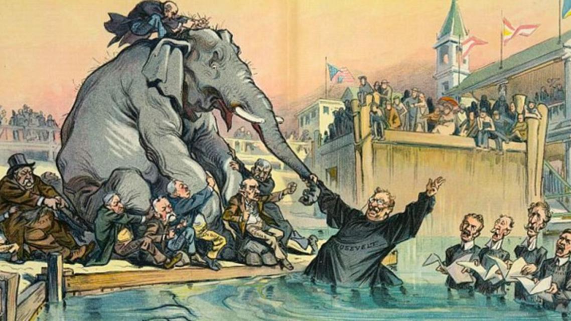رسم تخيلي يجسد انقسام الحزب الجمهوري عام 1912