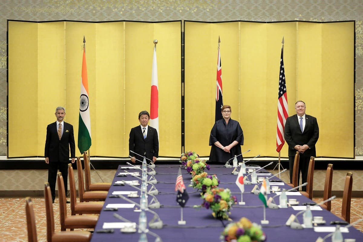 Indian Foreign Minister Subrahmanyam Jaishankar, Japan's Foreign Minister Toshimitsu Motegi, Australia's Foreign Minister Marise Payne and US Secretary of State Mike Pompeo pose for a picture prior the Quad ministerial meeting in Tokyo, Japan, on October 6, 2020. (Reuters)